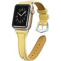 Pulseira de couro fino compatível com Apple Watch 38 mm, 40 mm, 42 mm, 44 mm, pulseira de substituição de couro genuíno…