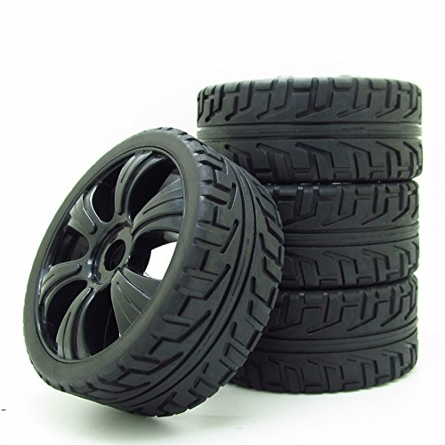 RC Off-Road Buggy 1:8 Hex 17mm 6 Spoke Wheel Rims H Thread Pattern Tyre Tires Black (Best 1 8 Buggy)