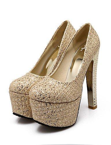 GGX/Damen-Schuhe Glitzer/Individuelle Materialien heelsparty Spring/Winter Heels/Plattform/Basic Pumpe/rund Zehen heelsparty Materialien silver-us6 / eu36 / uk4 / cn36 700055
