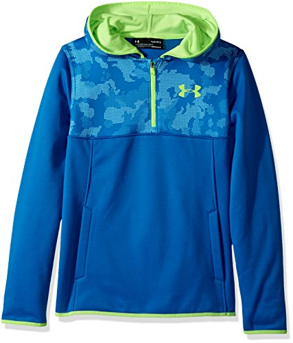 Under Armour Boys' Armour Fleece ¼ Zip Hoodie,Cruise Blue (899)/Quirky Lime, Youth Medium
