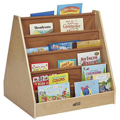 Wood Book Cart (ECR4Kids Birch and Canvas Double-Sided Book Display)