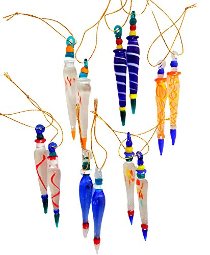 Dondor Glass Icicles, Multicolored Whimsical Hanging Ornaments, Light Reflecting Ornaments (12)