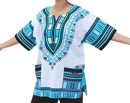 Raan Pah Muang Unisex African Dashiki Kaftan Shirt XS - 7XL, X-Large, White Light Blue ()