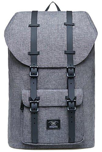 KAUKKO Laptop Outdoor Backpack, College Schoolbag Bookbag Travel Hiking Rucksack fits 15-Inch Laptop(Grey 02)