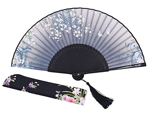 [Meifan Chinese /Japanses Classical Handmade Vintage Folding Bamboo Silk Flower Pattern Hand Fan FMI] (Mini Black And White Spanish Hat)