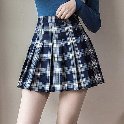 Falda Plisada de Mujer Harajuku Faldas a Cuadros de Estilo Preppy ...