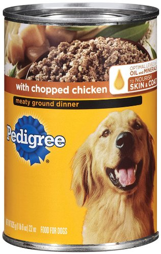 PEDIGREE Chopped Ground Dinner With Chicken Canned Dog Food 22 Ounces (Pack of 12) (Professional Adult Chicken Dog)