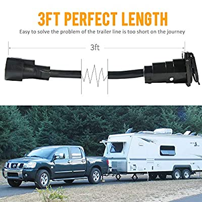 SnowyFox 7-Way Trailer Extension Cord 3 Feet 7 Pin Connector Wiring Cable Plug: Automotive