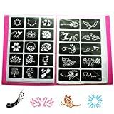 20 Sheet (Mixed 446 Pieces) Airbrush Tattoo Stencils Album Book for Men/Women Kids Glitter Temporary Tattoos for Body Painting