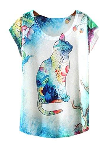Tees Leisure Girls' YICHUN Shirt Tops Wear 2 Trendy Cami Casual Printed Thin Fashion T Shirt Cat Tunic Women Blouse wvXzqSv