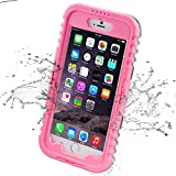 iPhone 6 Plus Waterproof Case, iThroughTM iPhone 6s Plus Waterproof Case, Dust Proof, Snow Proof, Shock Proof Case, Heavy Duty Carrying Cover Case for iPhone 6 Plus, iPhone 6S Plus 5.5 inch (Pink)