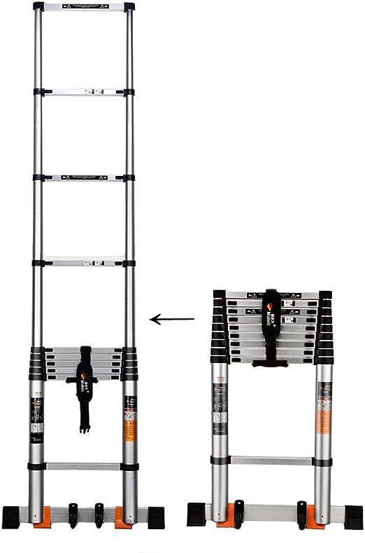 Zzmop - Escalera Extensible de aleación de Aluminio con estabilizador de Gancho Industrial, Escalera telescópica Recta, Escalera Multiusos, 3,8 m: Amazon.es: Hogar