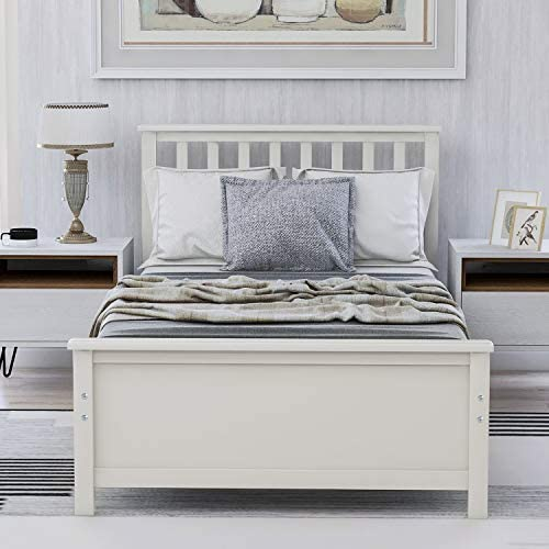 Harper&Bright Designs Wood Platform Bed with Headboard, Footboard, Wood Slat Support, No Box Spring Needed(Twin, White) 51BHnJq IXL