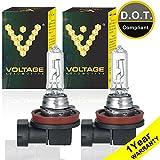 Voltage Automotive H9 Standard Headlight Bulb (Pair) - OEM Replacement Halogen High Beam Low Beam Fog Lights Driving Lights