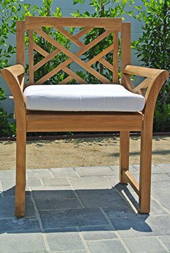 "Willow Creek Designs Monterey Teak Dining Arm Chair with Sunbrella Cushion, 28.5"" W x 23.5"" L x 35.5"" H, Canvas Charcoal Fabric"
