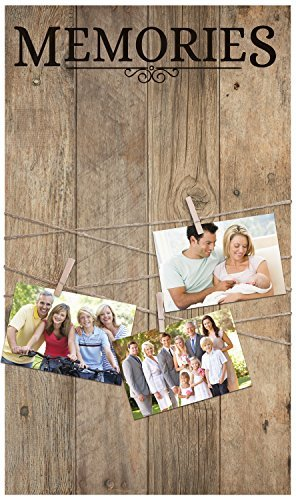 Memories Light Distressed 14 x 24 In Solid Pine Wood Clothesline Clipboard Photo and Momento Display