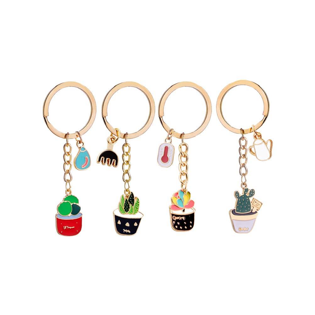 LIOOBO 4pcs mignon cr/éatif cactus pendentifs plantes pendentifs en forme de porte-cl/és accessoire /à la mode