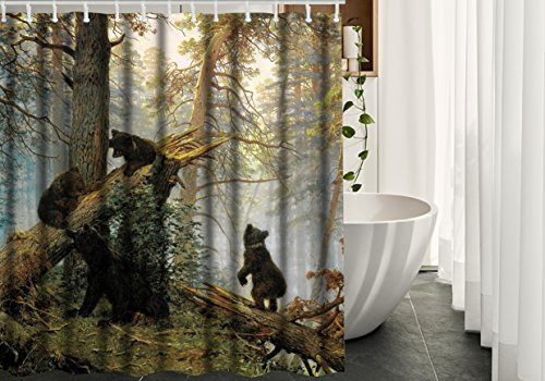 (Bear Shower Curtain Decor by HGOD DESIGNS, Black Cute Bear Play in the Forest Waterproof Polyester Fabric Bathroom Decor Shower Curtain,Green,7272)
