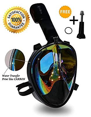 Mask Full Face Snorkel - EasyBreath - 180? Panoramic Seaview - Rainbow Mirror Lenses HD - Design Scuba Mask- Diving Mask - Anti-Leak & Anti-Fog - Adjustable Silicone Straps (Carbon, L/XL) | Educational Toys