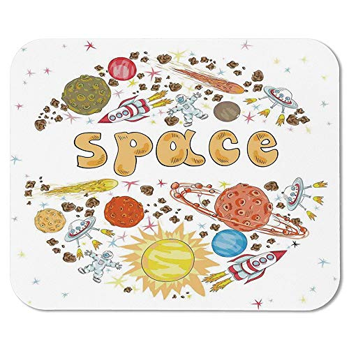 Kids Room Non Slip Mouse Pad,Outer Space Comet Meteor Galaxy Astronaut Print UFO Sun Planets Spaceship Poster Style Art Print for Laptop Computer & ()
