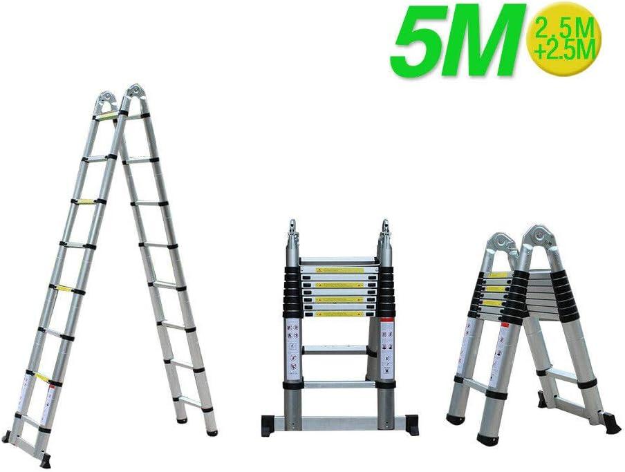 Ladder - Escalera telescópica (5 m, aluminio de alta calidad, antideslizante, bricolaje, plegable, extensible, única derecha, multifunción): Amazon.es: Bricolaje y herramientas