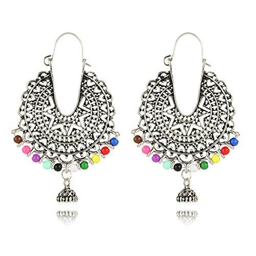 Indian Bollywood Beaded Hoop Earrings for Women - Gypsy Tribal Antique Chandelier Circle Earrings (Silver)