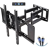 "TV Wall Mount with Dual Articulating Extension Arm, Tilt, Swivel and Rotation for 32-70"" TVs, by Basics Hardware"