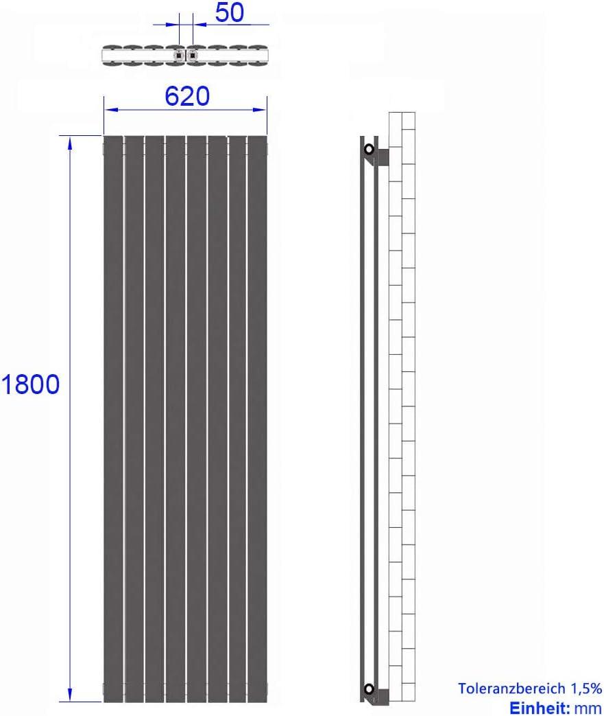 Duschdeluxe Design Heizk/örper Vertikal Paneelheizk/örper 1600x460mm Mittelanschluss Heizung Badheizk/örper Wei/ß