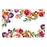 "DB Party Studio Paper Place Mats 25 Pack Beautiful Floral Bridal Shower Wedding Reception Event Disposable Dining Placemats Grad Birthday Parties Luncheon Dinner Table Setting Decor 17"" x 11"" Placemat"