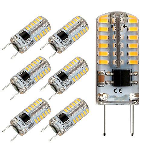 Reelco G8 LED Bulb Dimmable Mini 2.5Watt Daylight White 6000K 120V T4 G8 Base Bi-pin 20W Halogen Xenon Replacement, T4 JCD Type, Light Bulb for Kitchen Light (6-Pack)