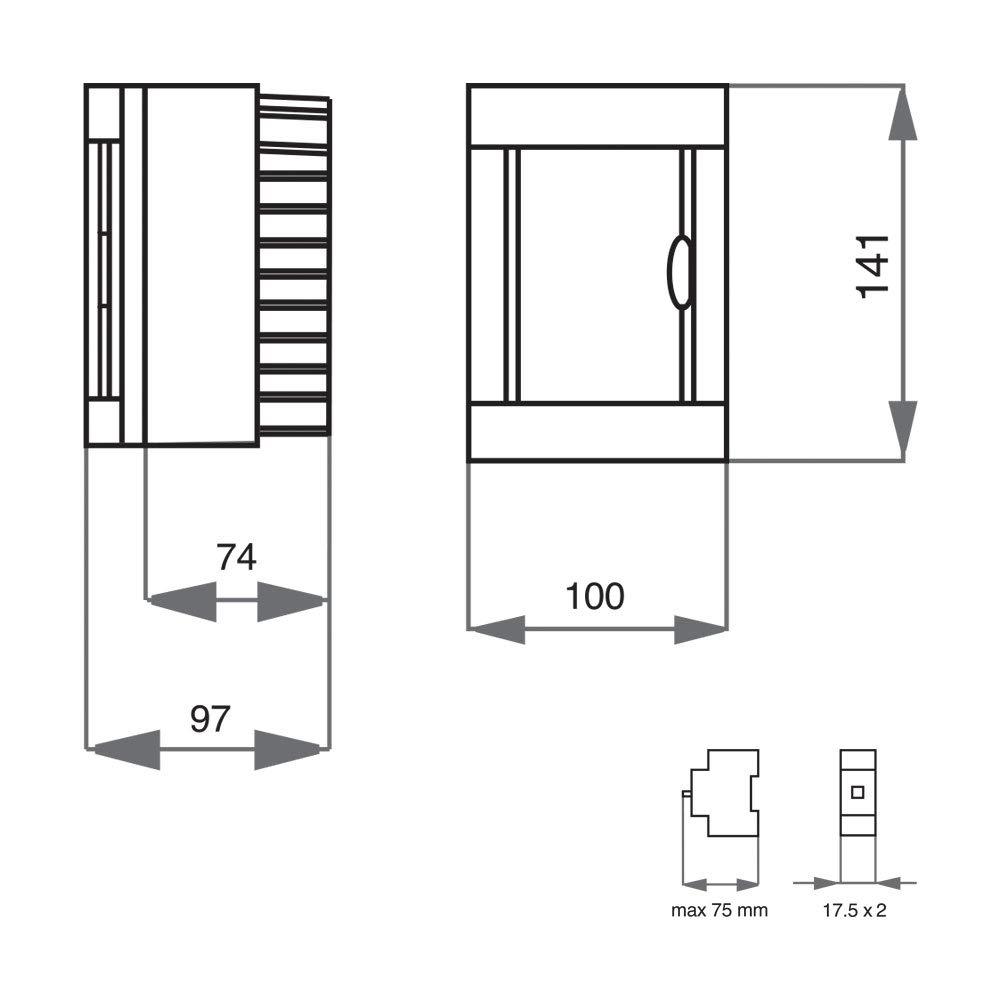 Surface Mounted Small Distribution Fuse Box Wiring Diagram Gewiss Switch Ip40 246812162436 Module 123 Row With Din Rail Pe N Terminals