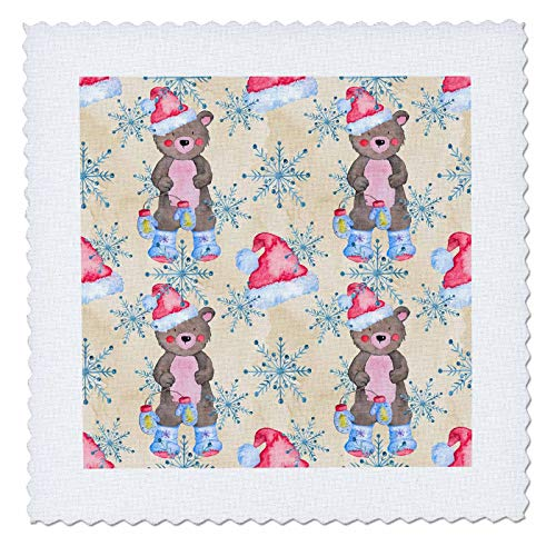 - 3dRose Anne Marie Baugh - Christmas - Cute Christmas Image Of Watercolor Bears and Snowflakes Pattern - 12x12 inch quilt square (qs_318548_4)