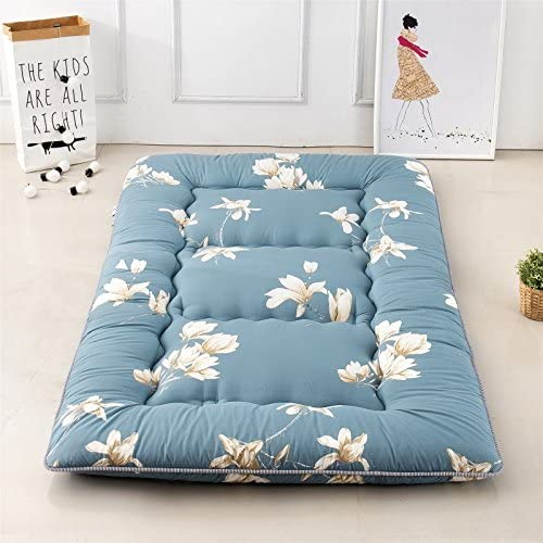 Magnolia Flower Blue Futon Tatami Mat Japanese Futon Mattress Futons for Sale Idea Present for Kids, 100cm x 200cm 39.4 x 78.7