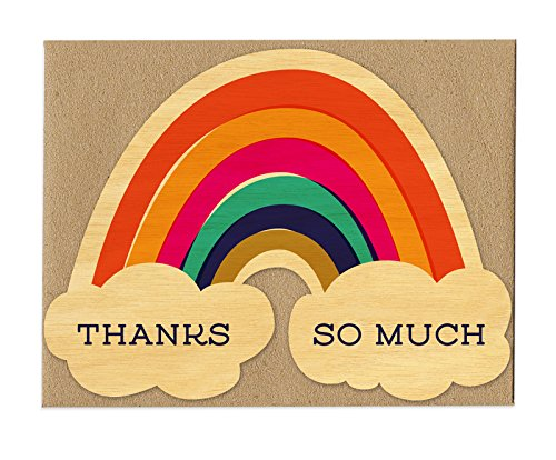 Night Owl Paper Goods Thanks Rainbow Real Wood Thank You Card