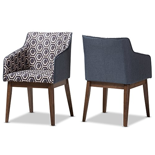 "Baxton Studio Set of 2, Isabelle Mid-Century Modern Dark Blue Patterned Fabric Lounge Chairs, Chair, Dark Blue Print/""Walnut"" Brown"
