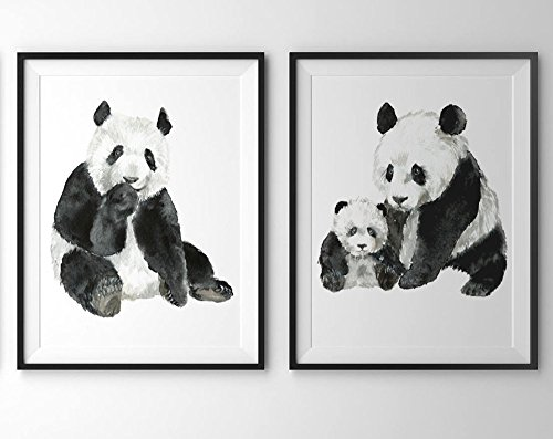 Panda-art-A028-Set-of-2-prints-8x10Panda-wall-artPanda-bear-picturesPanda-watercolor-printPanda-paintingPanda-artwork-Jungle-watercolor-animalsJungle-printsPanda-pictures