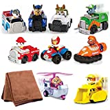 Paw Patrol Racers 9-Pack Vehicle Set, Rubble/Rocky/Skye/Ryder/Zuma/Marshall/Chase/Robodog/Tracker, Bundle with Cleaning Cloth