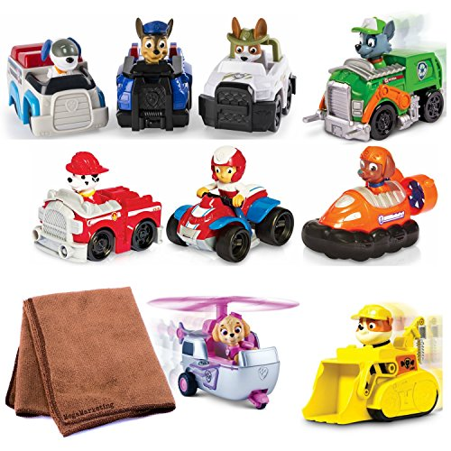 Paw Patrol Racers 9-Pack Vehicle Set, Rubble/Rocky/Skye/Ryder/Zuma/Marshall/Chase/Robodog/Tracker, Bundle with Cleaning Cloth by Páw Patrol