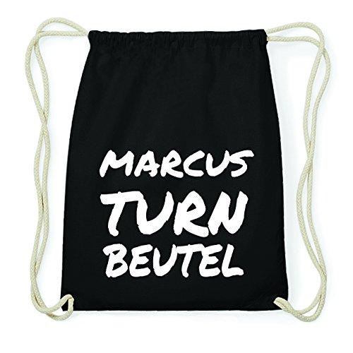 JOllify MARCUS Hipster Turnbeutel Tasche Rucksack aus Baumwolle - Farbe: schwarz Design: Turnbeutel