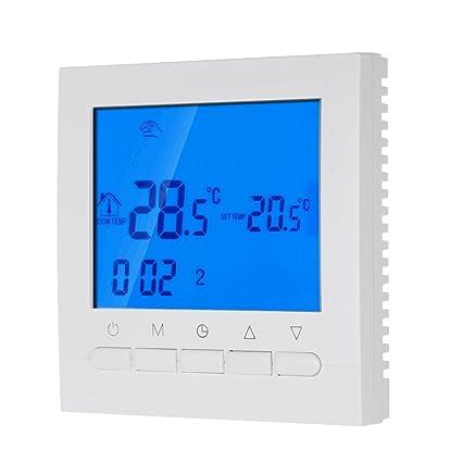 Decdeal Termostato de Calefacción Programable Eléctrica Ahorro de Energía, Wifi Inteligente Controlador de Temperatura 16A
