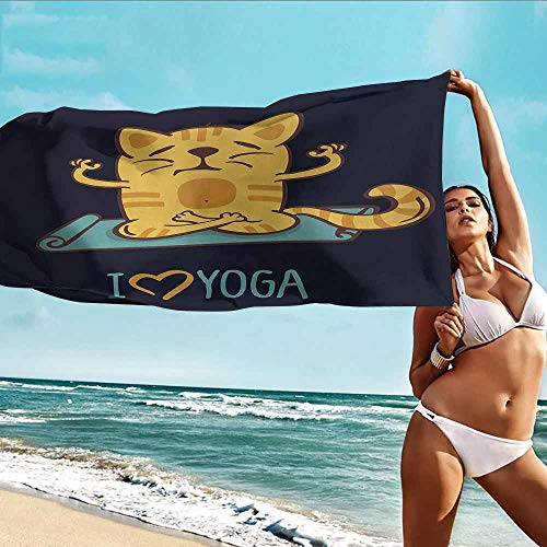 Antonia Reed Sports Towel Balloon Animal,I Love Yoga Theme Cute Cartoon Cat Exercise Mat Lotus Position,Dark Blue Light Blue Yellow,Suitable for Home,Travel,Swimming Use 32