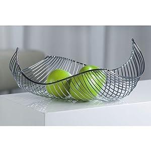Design Fruit Basket Bowl Chromed Steel Silver