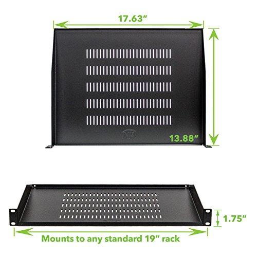 NavePoint Cantilever Server Shelf Vented Shelves Rack Mount 19'' 1U Black 14'' (350mm) deep