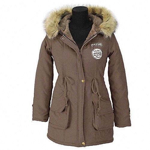 Price comparison product image Winter Women Jacket 2018 Fashion Artificial Fur Collar Hooded Coat Warm Jacket Female Outerwear Casual Long Down Cotton Coats Dark Brown XXXL
