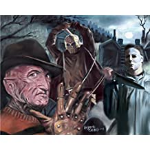 """Freddy Krueger Mike Myers 13th friday Jason Poster Painting 100% Handmade Pastel Drawing By Artist Eugene Size 22.4""""x28"""" Inch"""