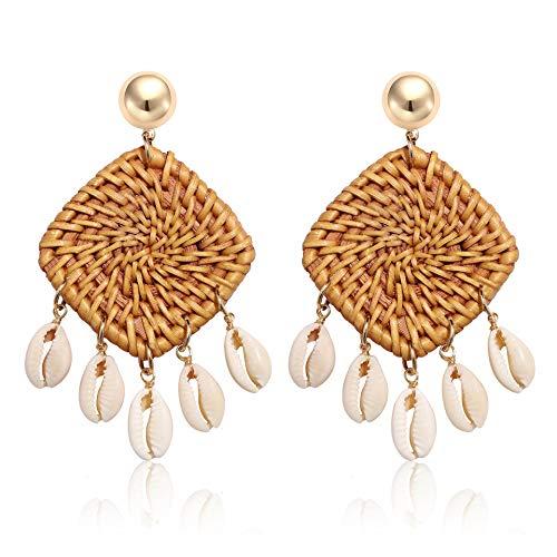 CEALXHENY Shell Rattan Earrings Boho Chandelier Seashell Bead Drop Earrings Handmade Straw Wicker Braid Hoop Dangle Earrings for Women Girls (D Square)
