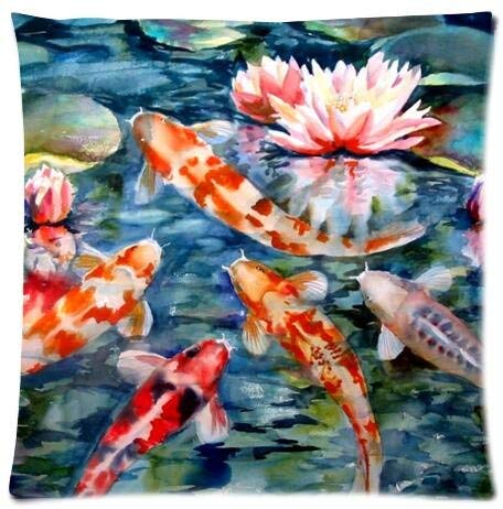(GETTOGET Watercolor Japanese Koi Fish Pillow Cases Comfortable Throw Pillow Cover for Sofa Home Room Bed 20x20 in )