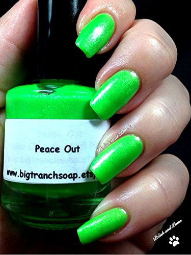 e7ccca1d64c Amazon.com  Neon Green Nail Polish - Fluorescent - PEACE OUT - UV Reactive  Nail Polish Lacquer - Regular Full Sized Bottle - FREE SHIPPING  Handmade