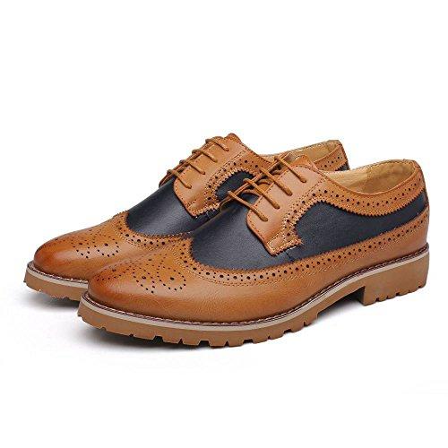 De Redonda Borla Yellow La Cabeza Resistente Al Decorativa De Baja Zapatos Tallada Brogue Hombre Koyi Compuesto Ayudar Suela Antideslizante A Nuevos para Desgaste fBzpnqE