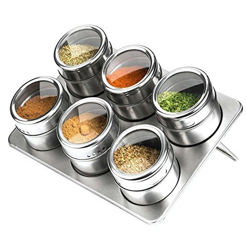 (6 Piece Magnetic Spice Jars, Stainless Steel Seasoning Spice Tools with Trestle and Rotating Transparent Lid by XUANLAN ( Round Shape, Silver))